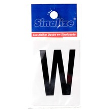 Número Autoadesivo Letra W 5 cmx2,5 cm Cantos retos Sinalize