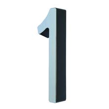 """Número Casa """"1"""" 8cm Parafusar Poliestireno Preto Cromado"""