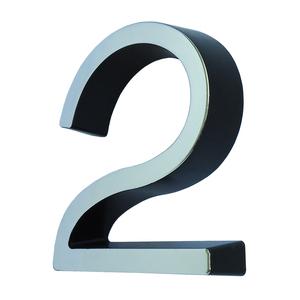 """Número Casa """"2"""" 8cm Parafusar Poliestireno Preto Cromado"""