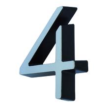 """Número Casa """"4"""" 8cm Parafusar Poliestireno Cromado"""