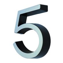 """Número Casa """"5"""" 8cm Parafusar Poliestireno Preto Cromado"""