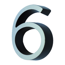 """Número Casa """"6"""" 8cm Parafusar Poliestireno Preto Cromado"""