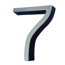 """Número Casa """"7"""" 8cm Parafusar Poliestireno Preto Cromado"""