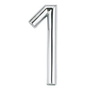 Número para Apartamento Número 1 7,5 cmx4 cm Cromado Bemfixa