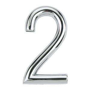 Número para Apartamento Número 2 7,5 cmx4 cm Cromado Bemfixa