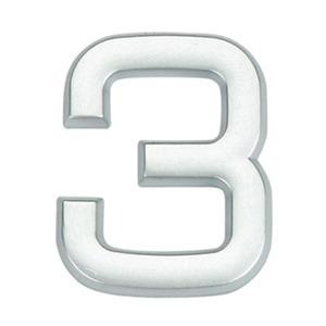 Número para Apartamento Número 3 3,9 cmx1,8 cm Cromado Bemfixa