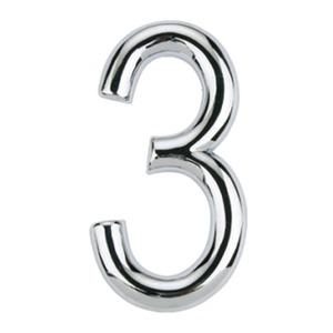 Número para Apartamento Número 3 7,5 cmx4 cm Cromado Bemfixa
