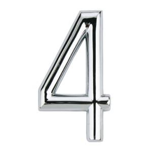 Número para Apartamento Número 4 7,5 cmx4 cm Cromado Bemfixa