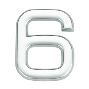Número para Apartamento Número 6 3,9 cmx1,8 cm Cromado Bemfixa