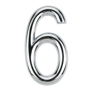 Número para Apartamento Número 6 7,5 cmx4 cm Cromado Bemfixa