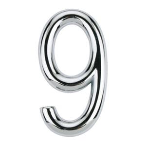 Número para Apartamento Número 9 7,5 cmx4 cm Cromado Bemfixa