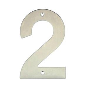 Número para Residência Número 2 14,5 cmx10 cm Inox Bemfixa