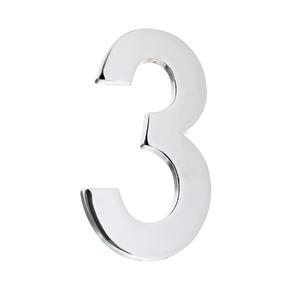 Número para Residência Número 3 12,8 cmx6,3 cm Cromado União Mundial