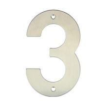 Número para Residência Número 3 14,5 cmx10 cm Inox Bemfixa