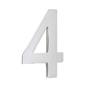 Número para Residência Número 4 12,8 cmx6,3 cm Cromado União Mundial