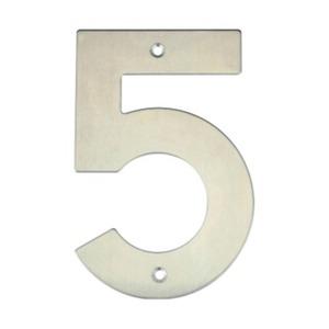 Número para Residência Número 5 14,5 cmx10 cm Inox Bemfixa