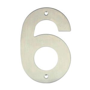 Número para Residência Número 6 14,5 cmx10 cm Inox Bemfixa