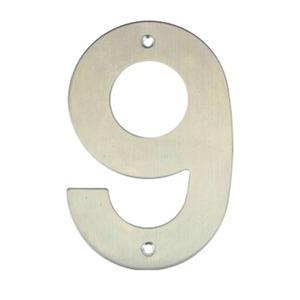 Número para Residência Número 9 14,5 cmx10 cm Inox Bemfixa