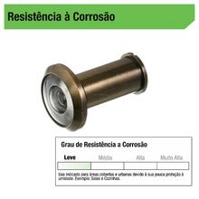 Olho Mágico para Porta 35 a 50mm 200º Zamac Dourado Oxidado
