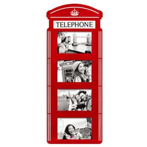 Painel de Fotos Cabine Telefônica Vermelho 23x60cm
