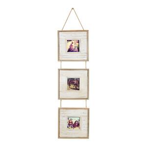 Painel de Fotos Rústico Branco 18,5x73cm