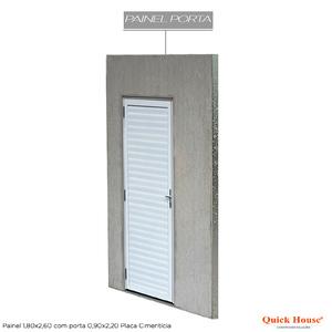 Painél Metalico 1,80x2,60m com Porta 0,90x2,20m Placa Cimentícia Quick House