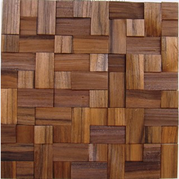 Painel mosaico de madeira teca lascada travada 30x30cm tw for Mosaico leroy merlin