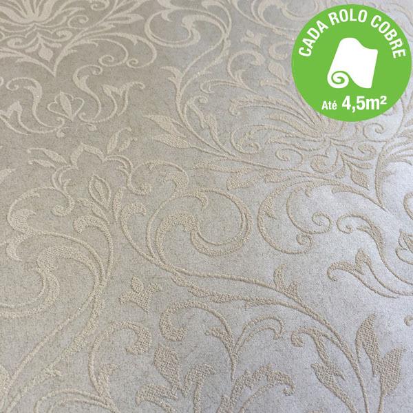 Papel de parede arabesco cinza rolo com 10m leroy merlin for Papel para paredes salon