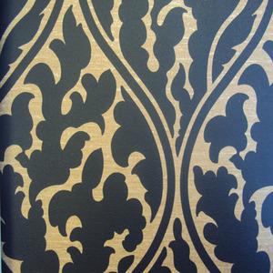 Papel de Parede Estampado Preto/Bege Sob Encomenda 0,53x10m Art Papier