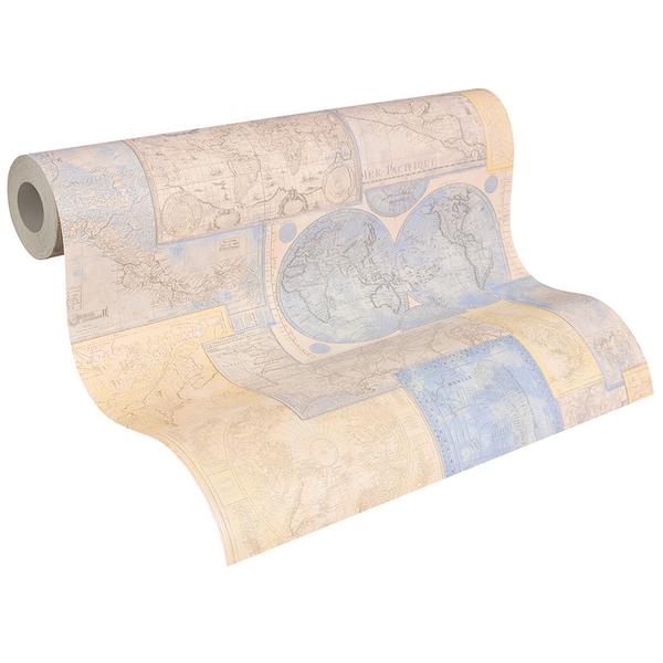 Papel de parede vin lico mapa bege e azul rolo com 10m - Papel vinilico leroy merlin ...