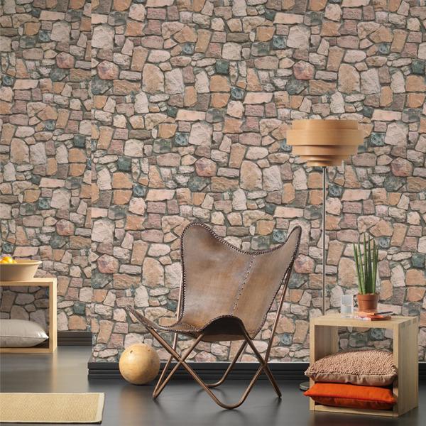 Papel de parede vinilizado pedras cinza rolo com 10m - Papel de pared leroy merlin ...