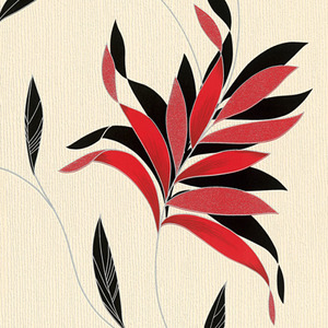 Papel de Parede Sob Encomenda TNT Kingston Floral Branco e Vermelho Rolo com 10m