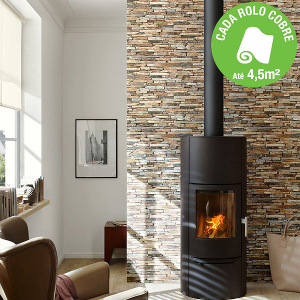 papel de parede tnt pedra marrom rolo com 10m leroy merlin. Black Bedroom Furniture Sets. Home Design Ideas