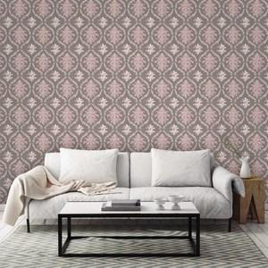 Papel de parede vin lico arabesco cinza e rosa rolo com - Papel vinilico leroy merlin ...