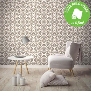 Papel de parede vin lico floral marrom rolo com 10m for Portarrollos papel higienico leroy merlin