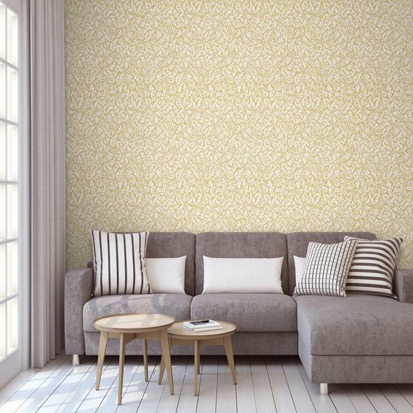 Papel de parede vin lico arabesco gold branco e dourado - Papel vinilico para banos leroy merlin ...