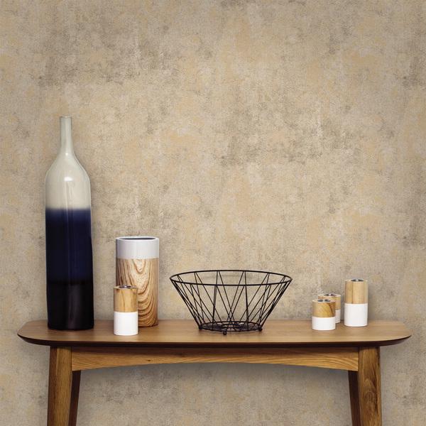 Papel de parede vin lico cimento queimado dourado rolo com 10m inspire leroy merlin - Papel de pared leroy merlin ...