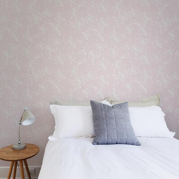 Papel de parede vin lico floral delica bege e branco rolo - Papel vinilico para cocinas leroy merlin ...