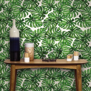 Papel de parede vin lico folhagem verde rolo com 10m - Papel vinilico para cocinas leroy merlin ...