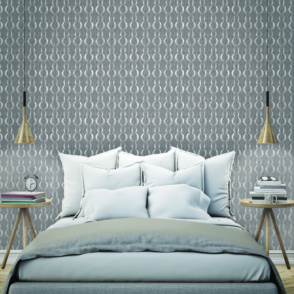 Papel de parede vin lico geom trico waves cinza e branco rolo com 10m inspire leroy merlin - Papeles pintados sevilla ...