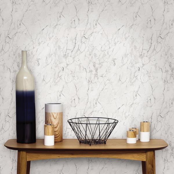 Papel de parede vin lico m rmore branco rolo com 10m - Papel vinilico leroy merlin ...