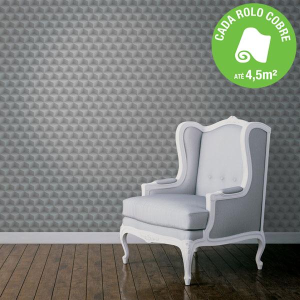 Papel de parede vinilizado 3d cinza rolo com 10m leroy - Papel para pared leroy merlin ...