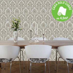 Papel de parede vinilizado arabesco bege rolo com 10m - Papel de pared leroy merlin ...