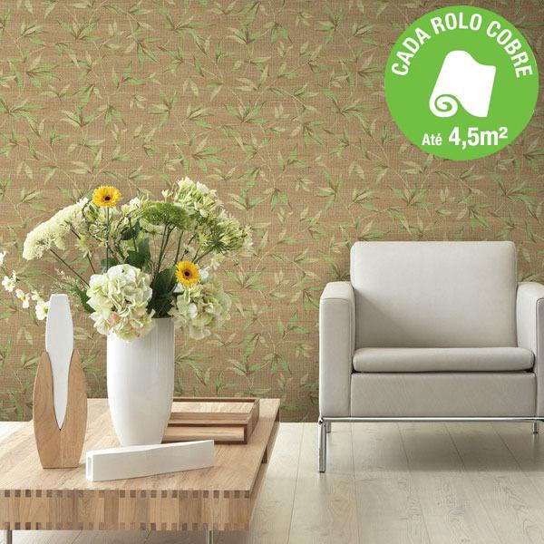 Papel de parede vinilizado folhagem verde rolo com 10m - Papel de pared leroy merlin ...