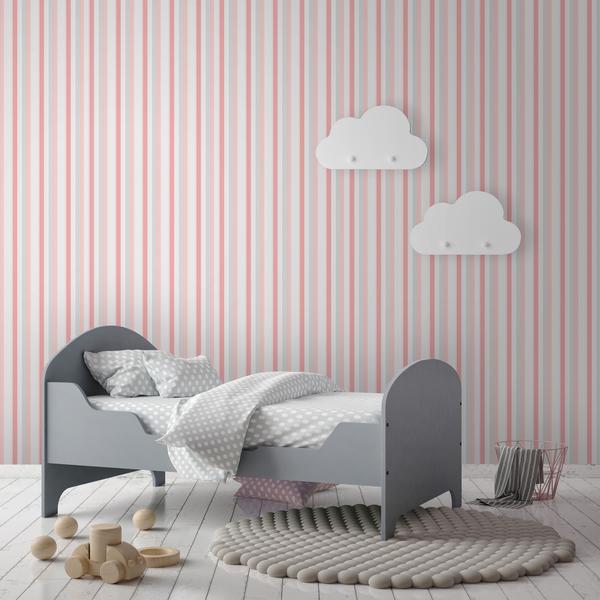 Papel de parede vinilizado listrado rosa rolo com 10m - Papel de pared leroy merlin ...