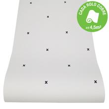 Papel de Parede Vinilizado Monochrome Cross Preto e Branco Rolo com 10m
