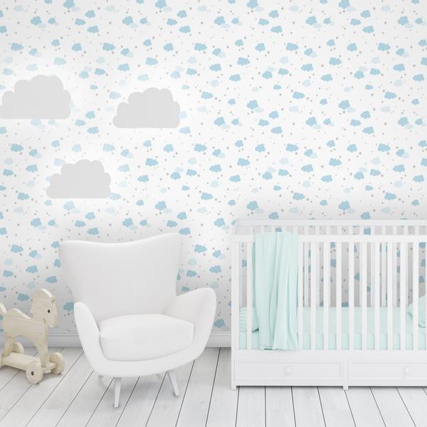 Papel de parede vinilizado nuvens azul e branco rolo com - Papel pared nina ...