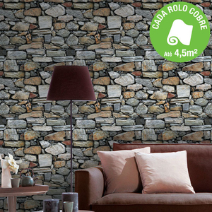 Papel de parede vinilizado pedra cinza rolo com 10m - Papel de pared leroy merlin ...