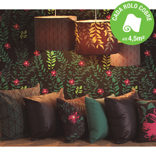 Papel de Parede Vinilizado Tropical Night Drika Preto e Verde Rolo com 10m