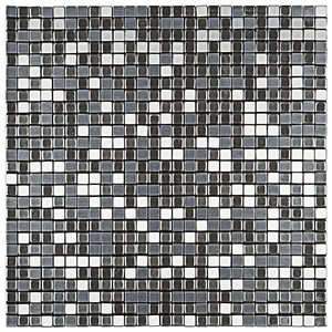Pastilha Autoadesiva AL400 Prata 30,5x30,5cm Glass Mosaic